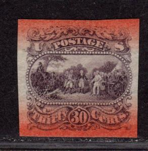 $US Sc#121-E1s XF, Essay on bond paper, red bands O/P, Cv. $350