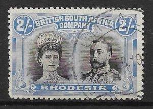 RHODESIA SG154a 1910-3 2/= GASH IN EAR VAR FINE USED