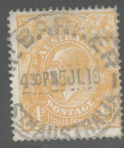 Australia  Scott 31 used 1915 KGV 4p orange wmk 9 perf 14