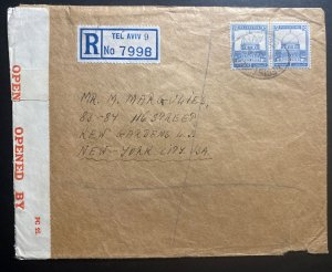 1943 Tel Aviv Palestine Censored Registered Cover To New York USA