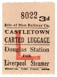 (I.B) Isle of Man Railway : Carted Luggage 3d (Liverpool Steamer)