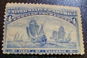 #233 - Unused, OG, PH,  crease. 1893 Fleet of Columbus 4 Cent Stamp SCV $55.00