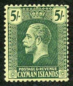 Cayman Is SG64b 5/- blue-green/pale yellow wmk Mult Crown CA m/m