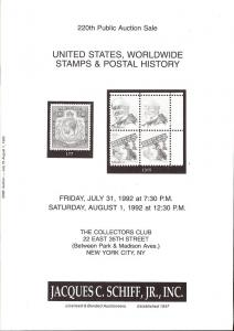United States, Worldwide Stamps & Postal History, Schiff 220