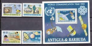 Z2960 1983 antigua mnh set + s/s #698-702 communication