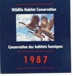 CANADA  FEDERAL WILDLIFE HABITAT CONSERVATION YEAR 1987 LOT#62