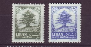 J24052 JLstamps 1963-4 lebanon part of set mhr #405, mh 407 cedar tree