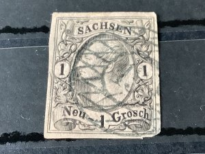 Saxony 1855 Grid Number cancel 13 for Schneeberg  Ore Mountains  Stamp 57184