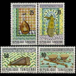 TUNISIA 1970 - Scott# 530-3 Musical Instru. Set of 4 LH