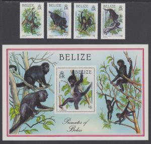 Belize Sc 858/872 MNH. 1987 America's Cup + Indigenous Monkeys, 2 complete sets