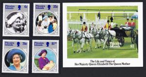 Pitcairn Life and Times of Queen Elizabeth the Queen Mother 4v+MS SG#268-272