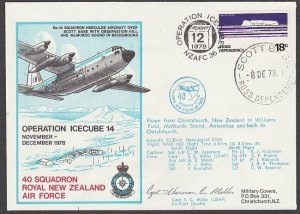 NEW ZEALAND ANTARCTIC 1978 RNZAF signed flight cover ex Scott Base..........A797