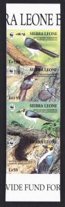 Sierra Leone Birds WWF White-necked Picathartes Strip of 4 imperforated stamps