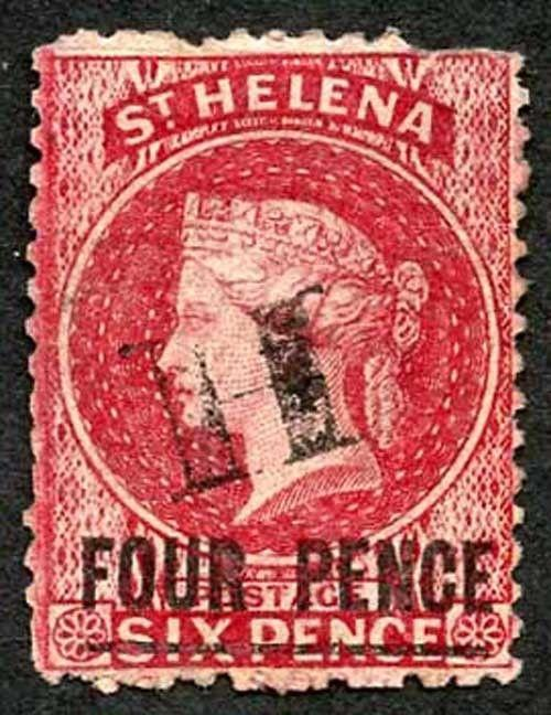 St Helena SG13 4d Carmine words 17mm Fine used Cat £50