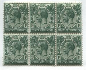 Straits Settlements KGV 1912 1 cent green block of 6 mint o.g.