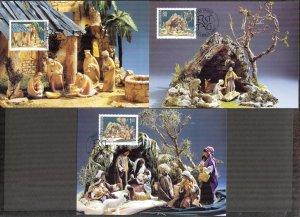 Liechtenstein 2000 Christmas  3 Maxi Cards FDC