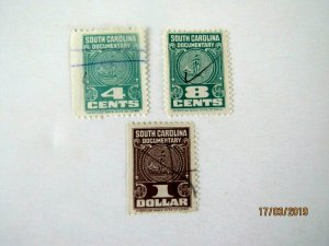 South Carolina Documentary Stamps, 4, 8 cents & $1.00 value