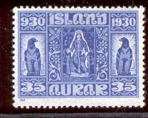 ICELAND 160 MINT HINGED ICELAND WOMAN IN COSTUME 1930