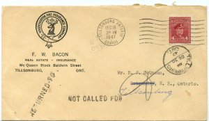 RETURNED TO / NOT CALLED FOR Fire Ins. 1947 War Issue advertising cover Canada