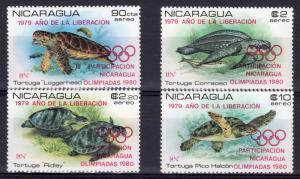 Nicaragua 1980 Mi# 2099/2102  Moscow 1980 Olympics-Turtles Set (4) MNH