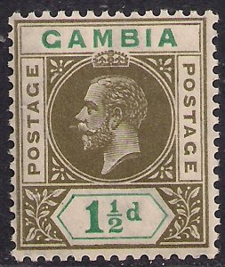 Gambia 1921 - 22 KGV 1 1/2d Olive & Blue Green Umm SG 110 ( E99 )