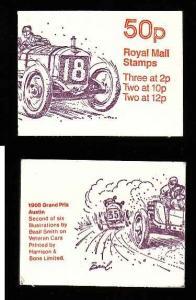 Great Britain BK233-50p complete NH booklet #2-Cars-Grand Prix Austin-