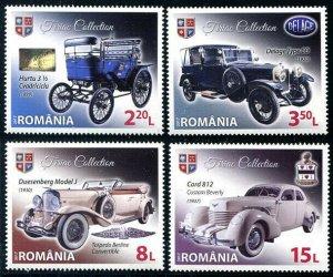 HERRICKSTAMP NEW ISSUES ROMANIA Sc.# 5988-91 Vintage Automobiles