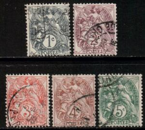 France, 1900 Liberty Set, 1c-5c, Scott 109/113, used