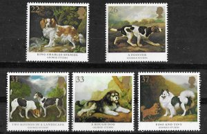 Great Britain # 1345-49  Dog Paintings by Stubbs   (5) Mint NH