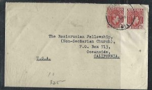 NIGERIA  (P2808BB) 1946  KGVI 2D PR COVER TO USA