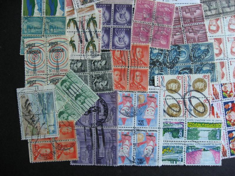 USA interesting wee hoard of used blocks 4 or more