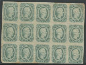 CSA Scott #12c (AD) Bluish-Green Mint OG LH Block of 15 Confederate Stamps VF