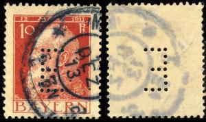 BAVIÈRE / BAYERN - 1913 - Mi.Dienst 8.IV mit LOCHUNG  E  gebraucht MÜNCHEN