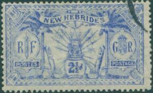 New Hebrides 1911 SG21 2½d ultramarine Weapons Idols FU