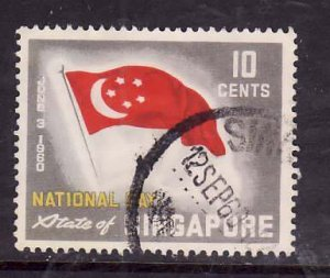 Singapore-Sc#50-used 10c gray red & yellow-Flags-1960-