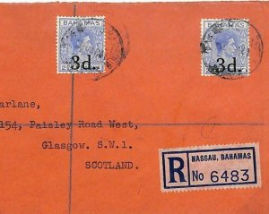 Bahamas Cover Registered Nassau KGVI 3d Overprints GB Scotland WW2 1941 U123