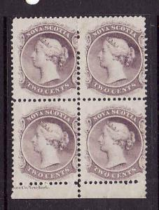 Canada-Nova Scotia #9-unused hinged 2c lilac QV block of 4-partial imprint bott