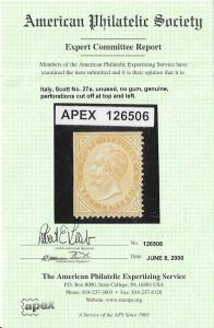 12073  Italy 27a mng 2017 SCV $3100.00 - with cert.- see below - FREE SHIPPING..