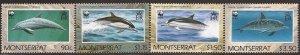 Montserrat - 1990 Dolphin Marine Mammal - 4 Stamp Set - Scott #753-6