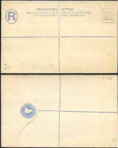 RP14 QV 2d Blue Registered Envelope Size H MINT