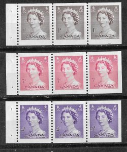 Canada # 325a ,327a,328a  QE II - panes of 3   (3)   Unused VF VLH