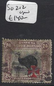 NORTH BORNEO (PP2512B)  24C BIRD   RED CROSS  SG 212   VFU
