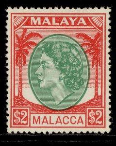 MALAYSIA - Malacca QEII SG37, $2 emerald & scarlet, LH MINT. Cat £26.