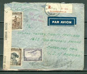 BELGIAN CONGO 1943  #196, #204-205, #C15 on CENSORED REGISTERED AIR COVE to US