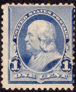 US Stamp #219 1c Blue Franklin Mint Hinged SCV $20