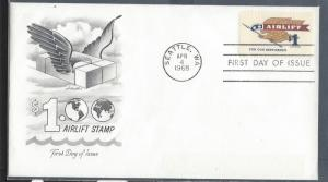 United States, 1341, $1 Airlift FDC, Used