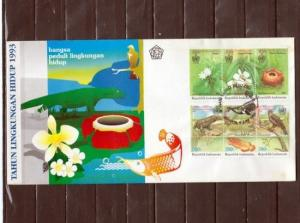 Indonesia, Scott cat. 1543-1544 A-C. Environmental Protection. First day cover.