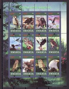 Rwanda, 2009 Cinderella issue. Owls & Eagles sheet of 12. Canceled, C.T.O.