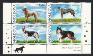 Moldova Dogs 4v Block of 4 Bottom Margins SG#557-560