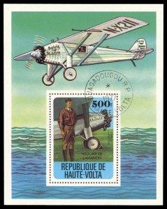 Upper Volta 467, CTO, Charles Lindbergh and Flight History  souvenir sheet